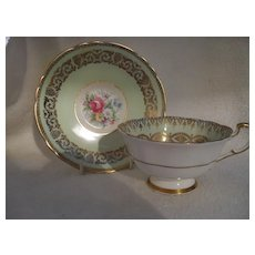 Paragon DW Mint Green Floral and Gold Cabinet Teacup and Saucer A248