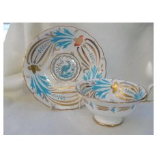 Royal Chelsea Turquoise Bird of Paradise Teacup and Saucer