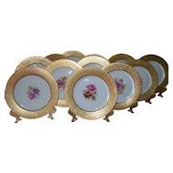 12 Hutschenreuther Royal Bavarian Gold Encrusted Floral Dinner Plates