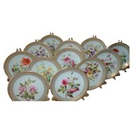 Rare Antique 12 Royal Worcester HP Gold Floral Dessert Plates 1884