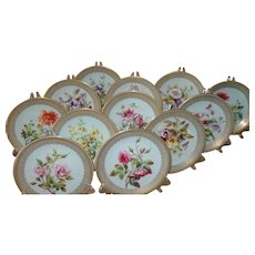 Rare Antique 12 Royal Worcester HP Gold Floral Dessert Plates 1884
