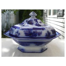 Wedgwood Flow Blue Chapoo Pattern Covered Tureen Dish