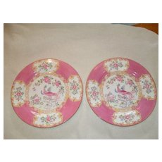 """Pair of Mintons Pink Cockatrice 9"""" Luncheon Plate Globe Backstamp"""