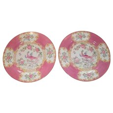 "Pair of Mintons Pink Cockatrice 9"" Luncheon Plate Globe Backstamp"