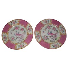 "Pair of Mintons Pink Cockatrice 6 1/4"" Tea Bread Plate Globe Backstamp"