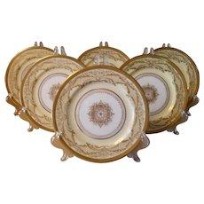 "Six Royal Doulton Gold Encrusted Dessert Plates 9 1/8"" RA3472D"