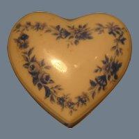 Small Porcelain Heart Shaped Box Chamart France Limoges Blue Flowers