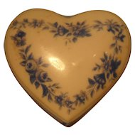 Small Porcelain Heart Shaped Box Chamart France Limoges Blue Flowers