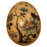 Sweet Limoges Porcelain Blue Flowers Branch Trinket Egg Box