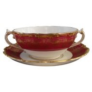 Coalport Hazelton Maroon Red Burgundy Gold Cream Soup