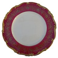 Coalport Hazelton Maroon Red Burgundy Gold Dinner Plate