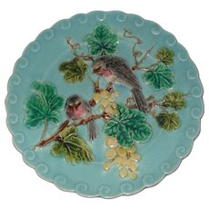 French Sarreguemines Majolica Plate with Birds Grapes