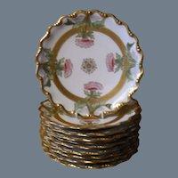 Ten Limoges Blakeman & Henderson Gold Encrusted Dessert Plates