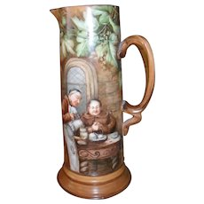 French Limoges Tankard Hand Painted Artist Signed Monk or Friar 1901