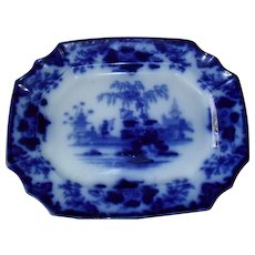 Antique Dark Early Flow Blue Alcock Scinde Platter
