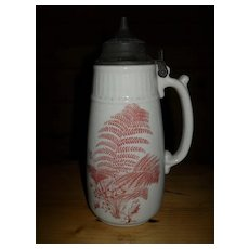 Antique Bennetts Brown Fern Transferware Syrup Pitcher