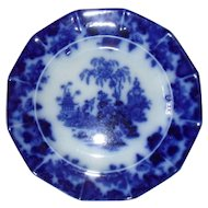 """Early 10 1/4"""" Dark Flow Blue Alcock Scinde Plate"""