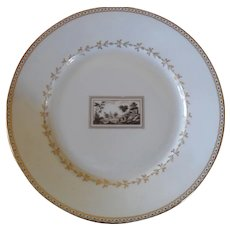 Richard Ginori Italy Florence Fiesole Pattern White and Gold Dinner Plate 10""