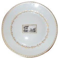 """Richard Ginori Italy Florence Italian Scene White and Gold Plate 8 3/4"""""""