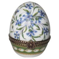 Vintage Porcelain Egg Pill Box Flower Gold Trinket Limoges France