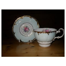 Paragon DW Mint Green Floral and Gold Teacup and Saucer A 1727
