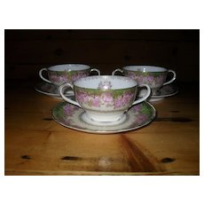 Three Antique Rosenthal Iris Pink Rose Gold Cream Soup and Saucer
