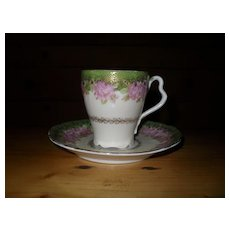 Antique Rosenthal Iris Pink Rose Gold Chocolate Cup and Saucer