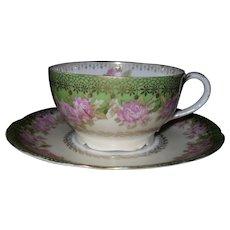 Antique Rosenthal Iris Pink Rose Gold Teacup and Saucer