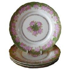 """Set of 4 Antique Rosenthal Iris Pink Rose Gold Plate 7 3/4"""""""