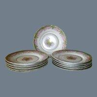 "Set of 11 Antique Rosenthal Iris Pink Rose Gold Dessert Plate 8 1/2"""