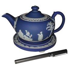 Early Wedgwood Jasperware Blue Dip Teapot with Trivet