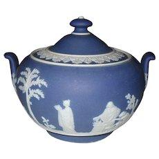 Early Wedgwood Jasperware Blue Dip Mews Sugar Bowl and Lid