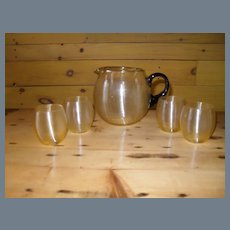 Yellow Threaded Spun Glass Pitcher W/ Black Handle & Vodka Stems