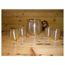 Yellow Threaded Spun Glass Pitcher W/ Black Handle & Vodka Stems