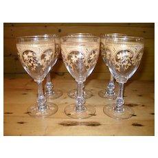 Antique Moser Gold Gilt Rococo Wine Glass
