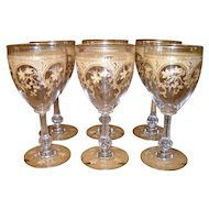 Antique Moser Gold Gilt Rococo Wine Glass