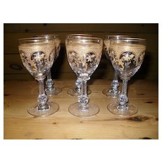 Antique Moser Gold Gilt Rococo Sherry Port Wine Glass (6)