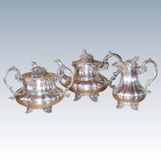 Vintage 3-Piece Silver Plated Teaset Figural Finial