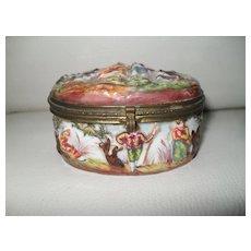 Antique Capodimonte Porcelain Romantic Country Couple Pill Box