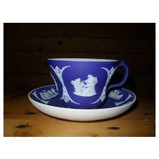 Vintage Wedgwood Cobalt Blue Dip Jasperware Teacup and Saucer