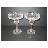 Stunning Heavy Cut Crystal Pair of Candleholders