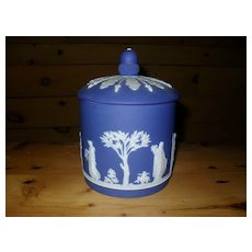 Antique Wedgwood Dark Cobalt Blue Jasperware Acorn Cookie Jar