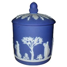 Antique Wedgwood Dark Cobalt Blue Jasperware Acorn Cookie Jar