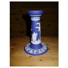 Antique Wedgwood Cobalt Blue Dip Jasperware Candlestick