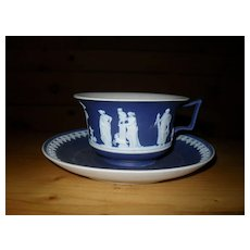 Antique Wedgwood Dark Cobalt Blue Dip Teacup and Saucer