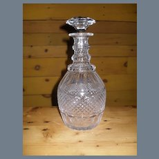 Early Georgian Cut Crystal Three Ring Decanter