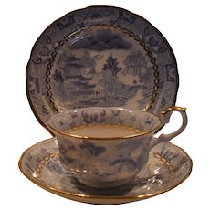Antique Miles Mason Broseley Willow Teacup and Saucer Plate Trio