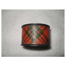 Antique Mauchline Ware Tartan Napkin Ring