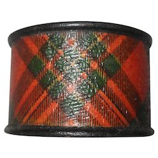 Antique Mauchline Ware Tartan Napkin Ring
