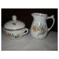 Bing & Grondahl B & G Denmark Saxon Flowers Creamer and Sugar Bowl